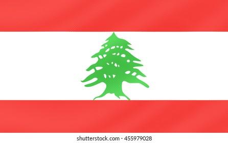 Lebanon country flag.- 3D illustration.