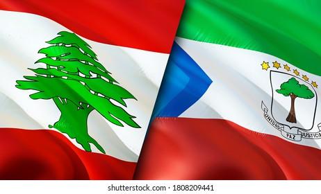 Lebanon and Equatorial Guinea flags. 3D Waving flag design. Lebanon Equatorial Guinea flag, picture, wallpaper. Lebanon vs Equatorial Guinea image,3D rendering. Lebanon Equatorial Guinea relations