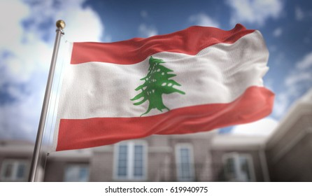 Lebanon Flag 3D Rendering on Blue Sky Building Background