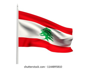 Lebanon flag floating in the wind with a White sky background. 3D illustration.