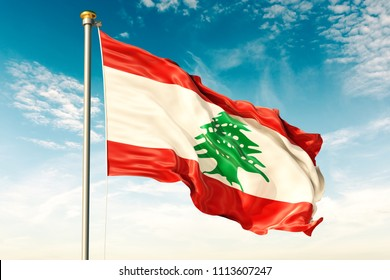 Lebanon flag on the blue sky with cloud. 3D illustration