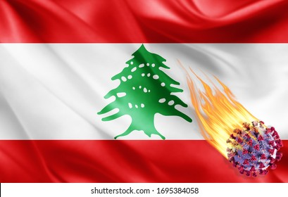 Lebanon flag of silk with Covid-19 Coronavirus and fire flames -3D illustration