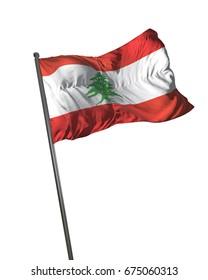 Lebanon Flag Waving Isolated on White Background Portrait 3D Rendering