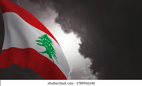 Lebanon flag waving under a dark, gloomy sky, light flashing through. 3d rendering illustration.