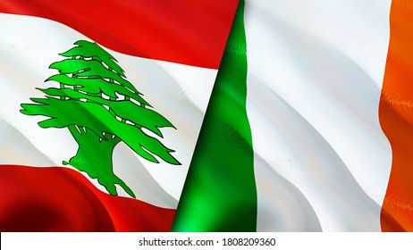 Lebanon and Ireland flags. 3D Waving flag design. Lebanon Ireland flag, picture, wallpaper. Lebanon vs Ireland image,3D rendering. Lebanon Ireland relations alliance and Trade,travel,tourism concept