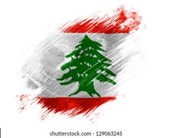 Lebanon. Lebanese flag  painted with brush on white background