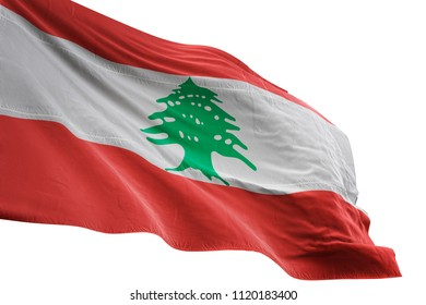 Lebanon national flag waving in the blue sky realistic 3d illustration isolated on white background