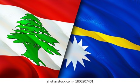 Lebanon and Nauru flags. 3D Waving flag design. Lebanon Nauru flag, picture, wallpaper. Lebanon vs Nauru image,3D rendering. Lebanon Nauru relations alliance and Trade,travel,tourism concept