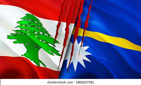 Lebanon and Nauru flags with scar concept. Waving flag,3D rendering. Lebanon and Nauru conflict concept. Lebanon Nauru relations concept. flag of Lebanon and Nauru crisis,war, attack concept