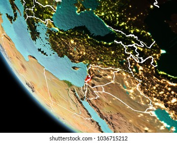 Lebanon from orbit of planet Earth at night with highly detailed surface textures with visible border lines and city lights. 3D illustration. Elements of this image furnished by NASA.