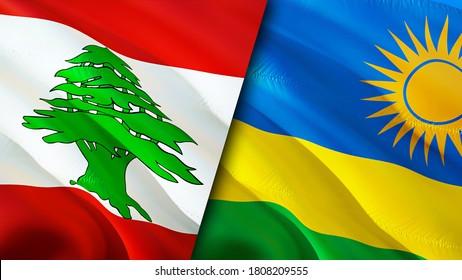 Lebanon and Rwanda flags. 3D Waving flag design. Lebanon Rwanda flag, picture, wallpaper. Lebanon vs Rwanda image,3D rendering. Lebanon Rwanda relations alliance and Trade,travel,tourism concept