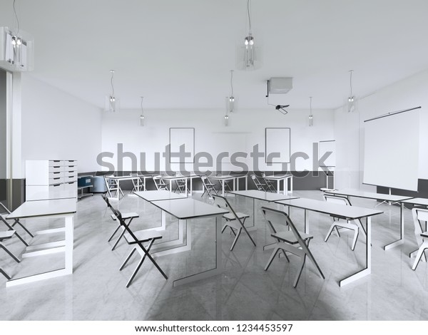 Strange Lecture Chairs Desk Class Room Panoramic Stock Illustration Pdpeps Interior Chair Design Pdpepsorg