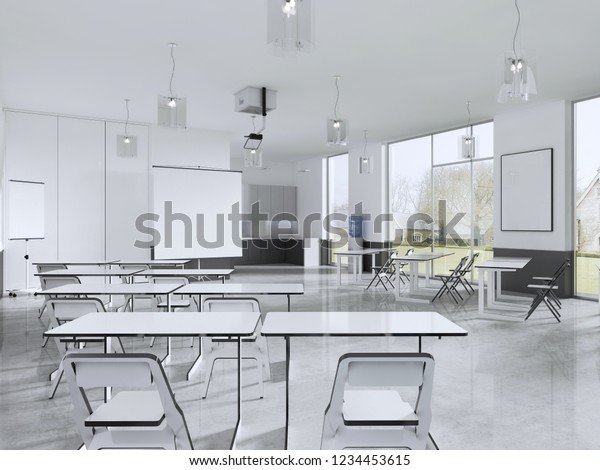 Terrific Lecture Chairs Desk Class Room Panoramic Stock Illustration Pdpeps Interior Chair Design Pdpepsorg