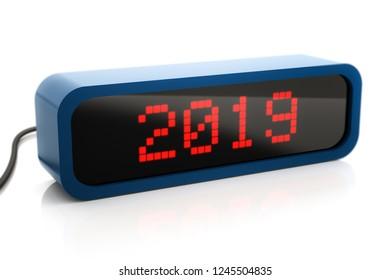 Led box display of 2019 New Year, 3d illustration, isolated on white