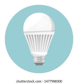 LED bulb. Economical light bulb. Eco friendly object with power economy. Flat  illustration