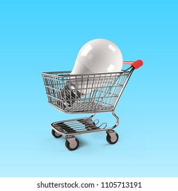 LED bulb in shopping cart, isolated on white background, energy saving concept, 3D rendering.