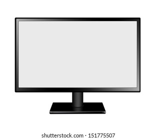 LED Computer Mornitor with blank screen on white background