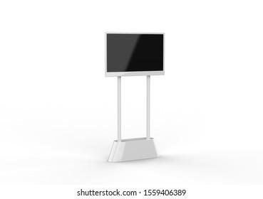 LED Digital banner stand isolated on white background, 3d illustration.