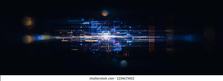 Led Light. Abstract effect. Future tech. Glare cubes. Digital cpu signal. Shine grid. Modern big data. Neon flare. Quantum computer net system. Magic code. Grid HUD lines. Web device. Blocks system.