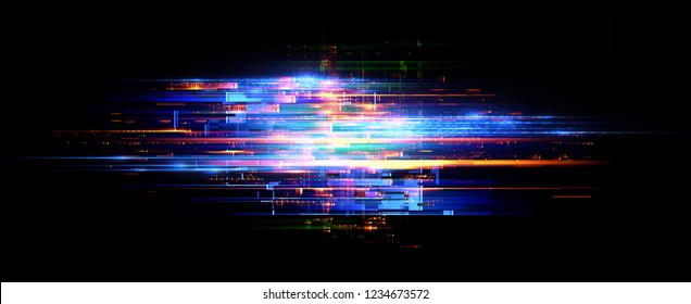Led Light. Abstract effect. Future tech. Glare cubes. Digital cpu signal. 