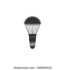 LED light bulb icon isolated. Economical LED illuminated lightbulb. Save energy lamp. Flat design