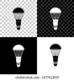 LED light bulb icon isolated on black, white and transparent background. Economical LED illuminated lightbulb. Save energy lamp