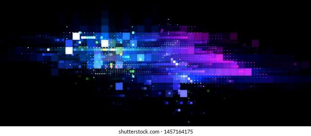 Led Light. luma effect. Future tech. Glare cubes. Digital signal.  Shine grid. Modern big data. Neon flare. Quantum computer net system. Magic code. Grid lines. Vivid frame. Web device. Blocks system.