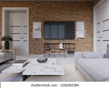 Led TV with TV stand on the background brick wall in loft apartment, living room. 3d rendering