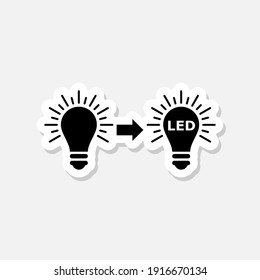 Led and usual light bulbs icon sticker