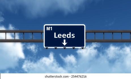 Leeds United Kingdom Highway Road Sign Photo Realistic 3D Illustration