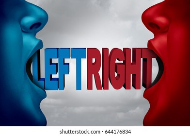 Left and right campaign argument and ideology as two people with open mouths with text as a liberal or conservative democratic or democracy choice with 3D illustration elements.