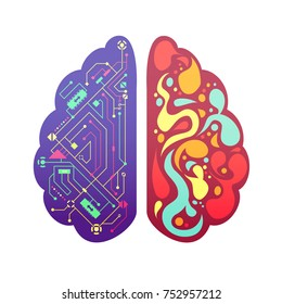 Left and right human brain cerebral hemispheres pictorial symbolic colorful figure with flowchart and activity zones  illustration