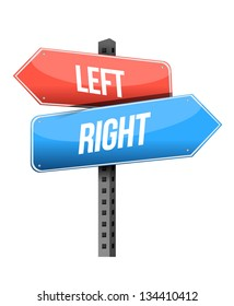 left, right road sign illustration design over a white background