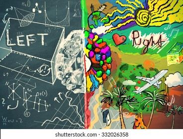 Left and right side of human brain concept illustration
