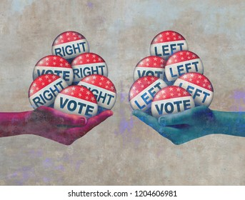 Left and right vote abstract politics concept as a conservative and a liberal campaigning in an election with 3D illustration elements.