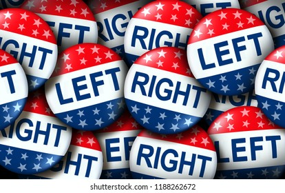Left and right wing vote badges as a united states election  or American voting concept as a symbol with conservative and liberal political campaign or US politics for government as a 3D render.