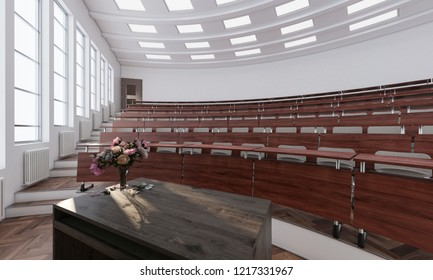 Left Section of a Lecture Hall 3d rendering