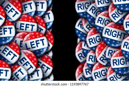 Left wing and the right vote badges as a united states election  or American voting concept as a symbol with conservative and liberal political campaign or US politics as a 3D render.