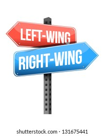 Left-wing and right-wing road sign illustration design over white