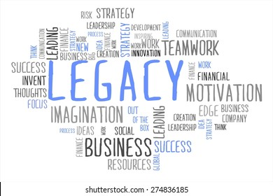legacy word cloud business concept in white background