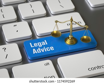 Legal Advice key on the keyboard, 3d rendering,conceptual image.