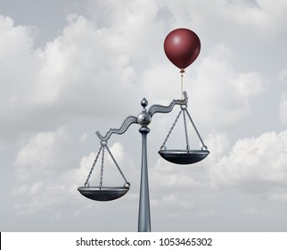 Legal assistance and lawyer services support or unfair justice concept as a scale with help from a balloon to influence the balance as a 3D illustration.