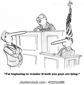 Legal cartoon about a judge who thinks the witness and lawyer are both lying.