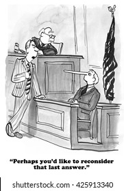 Legal cartoon about man on the witness stand not telling the truth.