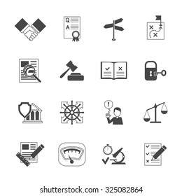 Legal compliance terms abidance work policy black icons set isolated  illustration