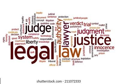 Legal concept word cloud background
