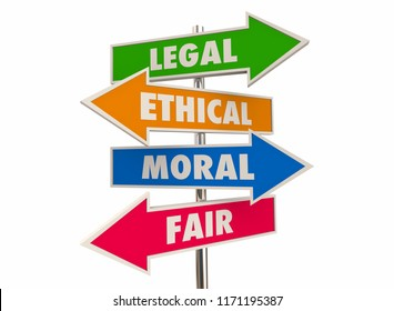 Legal Ethical Moral Fair Right Justice Arrow Signs 3d Illustration