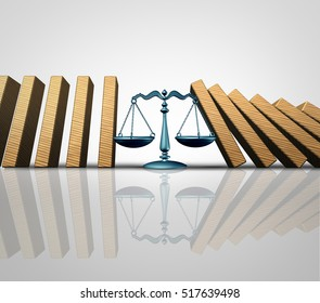 Legal help and lawyer services concept as a group of falling domino pieces being supported by a justice scale as a law aid and solving problems metaphor as a 3D illustration.
