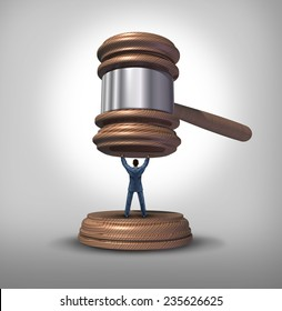 Legal protection and law advice concept as an attorney blocking a gavel or judge mallet as a symbol for lawyer services to protect a defendant or victim or legislator fighting for citizen rights.
