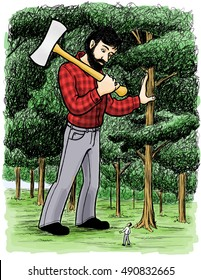 Legendary giant lumberjack Paul Bunyan stands in a forest with his double-edged Ax.  An ordinary-sized man cranes his neck back to look up at him.